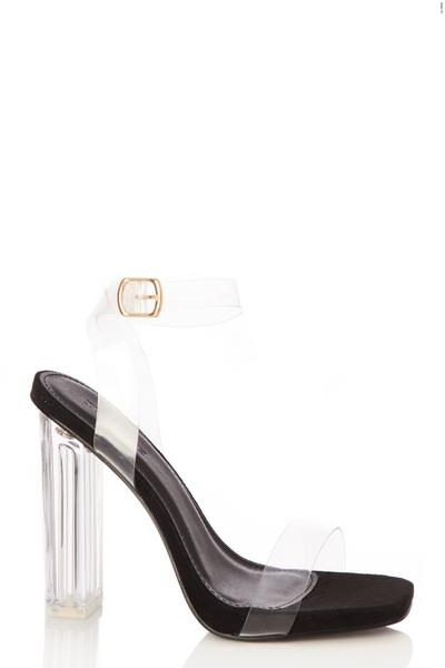 Wide Fit Black Clear Heel Sandals